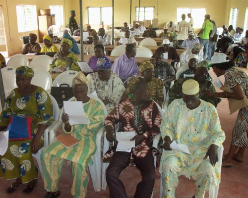 V. II. Farmers at the Participatory Varietal Selection from newly developed hybrids by farmers in Iwo, Osun State